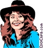 Vector Clipart picture  of a Cowgirl smiling