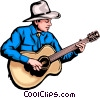 Cowboy playing guitar Vector Clip Art image