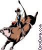 Vector Clipart graphic  of a Cowboy riding a bull