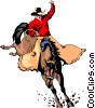 Cowboy riding a horse Vector Clipart illustration