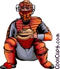 Baseball catcher Vector Clipart illustration