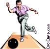Bowler throwing ball Vector Clipart illustration