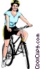 Woman cycling Vector Clipart image