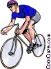 Vector Clip Art graphic  of a Man racing with bicycle