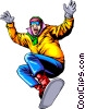 Vector Clip Art image  of a Snow boarding
