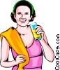 Vector Clipart graphic  of a Woman after workout