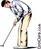 Vector Clipart image  of a Golfer with putter