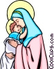 Vector Clipart image  of a Blessed Virgin & Child