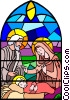 Nativity Scene stained glass window Vector Clipart picture