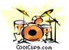 Vector Clipart graphic  of a Cool drums