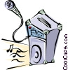 Vector Clipart picture  of a Microphone with amplifier