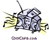 Vector Clip Art image  of a Portable stereo