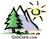 Vector Clip Art graphic  of a Mountain scene