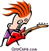 Vector Clip Art graphic  of a Cool musician