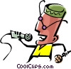 Vector Clipart picture  of a Cool jazz singer