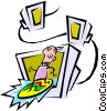Cool surfer Vector Clipart picture