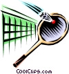 Vector Clipart graphic  of a Badminton racket and birdie