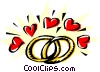 Wedding rings with hearts Vector Clipart illustration