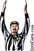Vector Clip Art graphic  of a Referee awarding touchdown