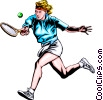 Woman playing tennis Vector Clipart graphic