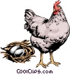 Vector Clipart graphic  of a Hen with eggs