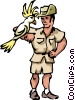 Australian guide with cockatoo Vector Clipart picture