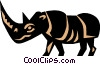 Vector Clip Art image  of a Cool rhino