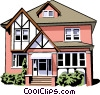 Vector Clip Art graphic  of a Single family home