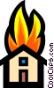 Symbol of a house on fire Vector Clipart image