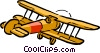Vector Clip Art image  of a Cartoon biplane
