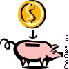 Vector Clip Art image  of a Cool piggy bank