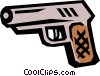 Vector Clip Art graphic  of a Handgun