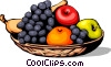 Assorted fruits in basket Vector Clipart image