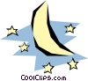 Vector Clip Art image  of a Moon and stars