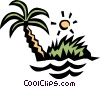 Deserted island Vector Clipart illustration