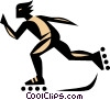 Vector Clip Art graphic  of a Roller-skater