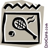 Vector Clip Art image  of a tennis ball and racket