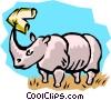 Vector Clip Art graphic  of a Rhinoceros