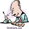 Vector Clip Art graphic  of a Calling his bluff