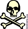 Vector Clip Art graphic  of a Skull & crossbones