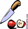 Knife with apple Vector Clipart picture