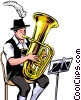 German Tuba Player Vector Clip Art graphic