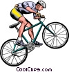 Vector Clip Art graphic  of a Man on mountain bike