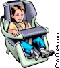 Vector Clip Art graphic  of a Child in a car seat