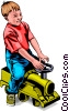 Vector Clipart illustration  of a Child with riding toy