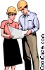 Reviewing construction plans Vector Clip Art picture