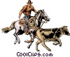 Vector Clip Art graphic  of a Cowboy & steer