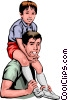 Vector Clip Art image  of a Father & son