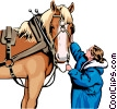 Vector Clipart picture  of a Horse and Woman