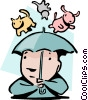 Vector Clip Art image  of a Raining cats and dogs